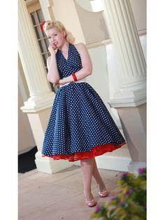 Classic Dame 50's Style Navy White Polka Dot Halter Swing Dress