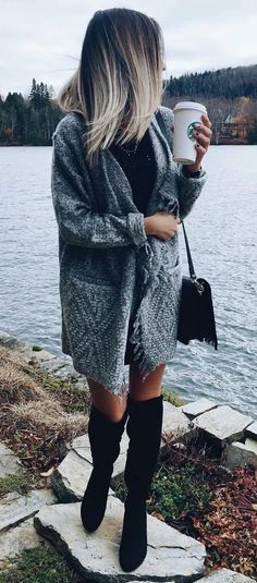 cozy fall outfit : knit cardigan + bag + over the knee boots