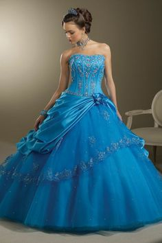 Blue Quinceanera Dresses - Full Ruffled Skirt And Sweetheart Neckline