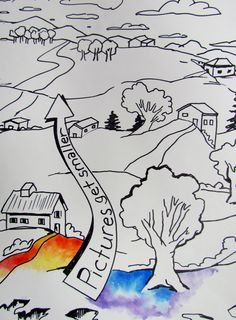Landscape lesson-background, middle ground and foreground. Art Doodle, 7 Arts, Art Handouts, 8th Grade Art, Art Worksheets, Perspective Art, Ecole Art, School Art Projects, Middle School Art