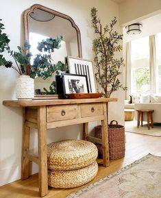Cheap Home Decor .Cheap Home Decor Butcher Table, Entryway Decor, Wall Decor, Foyer Table Decor, Side Table Decor, Rustic Entryway, Decoration Inspiration, Decor Ideas, Home Decor Furniture