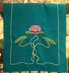 Arts and Crafts Mission Style, Craftsman Home Decor, Hand Embroidery, Table Runner- Waterlily Border Embroidery Designs, Modern Embroidery, Hand Embroidery, Craftsman Style Decor, Modern Craftsman, Craftsman Wallpaper, Table Runners, Needlework, Arts And Crafts