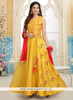 Grab this yellow designer party wear readymade anarkali suit. Indian Anarkali Dresses, Party Wear Indian Dresses, Gown Party Wear, Salwar Suits Party Wear, Party Wear Kurtis, Long Anarkali, Anarkali Gown, Indian Salwar Kameez, Anarkali Suits