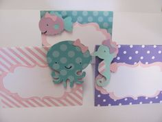 Under the Sea cupcake toppers Sealife cupcake toppersSet of Sea Cupcakes, Food Labels, Party Items, Baby Birthday, Under The Sea, Birthday Party Decorations, Cupcake Toppers, Photo Booth, Purple
