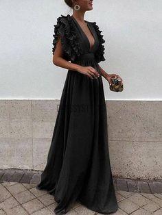 Grey Chiffon V Neck A Line Long Bridesmaid Prom Dresses DPB3107 – dressystyles Bridesmaid Dresses, Prom Dresses, Formal Dresses, Wedding Dresses, Ruffle Sleeve Dress, Fabric Swatches, Chiffon, V Neck, Grey