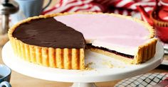 Enormous neenish tart Update this classic Australian dessert, with its signature brown and pink topping, on a grand scale. Australian Cake Recipe, Australian Desserts, Australian Food, Tart Recipes, Almond Recipes, Sweet Recipes, Dessert Recipes, Fig Recipes, Dessert Ideas