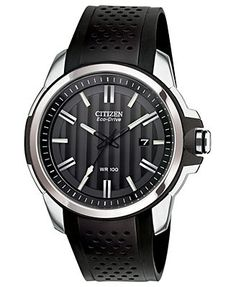 Citizen Watch, Men's Drive from Citizen Eco-Drive Black Rubber Strap 45mm AW1150-07E