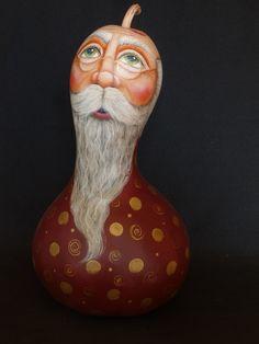 Gourds Birdhouse, Hand Painted Gourds, Christmas Cartoons, Gourd Art, Paint Ideas, Bird Houses, Bulbs, Folk Art, Santa