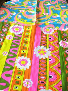 Retro Fabric Flower Power  Hippie Psychedelic by TUMBLEWEEDCOTTAGE, $5.00