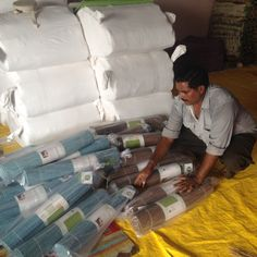 Getting our mats ready to go and into your yogi hands all the way from India! #yogasanamats