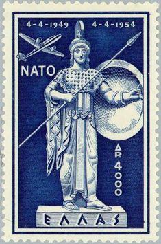 Stamp: North Atlantic Treaty Organization - Goddess Athena (Greece) (N.A.T.O.) Mi:GR 617,Sn:GR C73,Yt:GR PA68,Sg:GR 727,Un:GR A68 Ex Yougoslavie, Athena Goddess, Postage Stamp Art, My Stamp, Stamp Collecting, Letterpress, Mythology, Greece, Retro