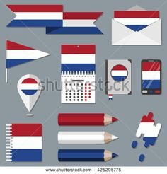 Set of icons with flag elements. Netherlands