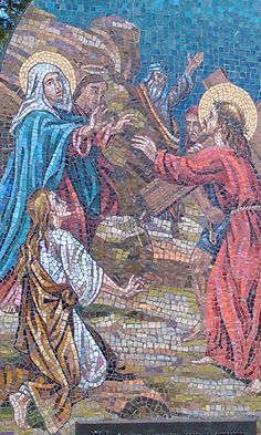 4 Stations of the Cross along the stairs @ Mother Cabrini Shrine Colorado. . Each station is made of stone mosaics made in Italy and depicts the suffering of our divine Lord as He gave His life for our salvation