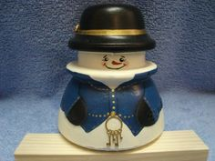 """This snowman was painted on a Hemmingray #45.  It measures about 4"""" X 4"""""""
