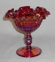 *FENTON ART GLASS:  Red Carnival Glass, Comport.