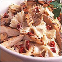 Macaroni Grill's Pasta Milano: 3 oz. butter  9 oz. grilled chicken, sliced  6 oz. sun-dried tomatoes, chopped  1/2 lb. mushrooms, sliced  3 Tbsp. Parmesan cheese, finely grated  16 oz. roasted garlic cream sauce (see below)  1 lb. bowtie pasta  Roasted Garlic Cream Sauce:  1 pint heavy cream  1/2 head roasted garlic  1/2 tsp. freshly ground black pepper  2 Tbsp. fresh parsley, coarsely chopped  1/2 cup Parmesan cheese, grated