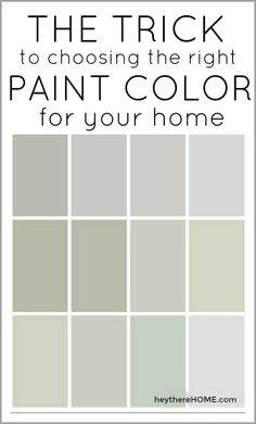 Trick to Choosing the Right Paint Color + 12 Perfect Neutral Paint Colors The trick to choosing the right paint color for your home.The trick to choosing the right paint color for your home. Neutral Paint Colors, Interior Paint Colors, Paint Colors For Home, Gray Paint, Green Paint Colors, Interior Design, Colourtrend Paint, Best Greige Paint Color, Foyer Paint Colors