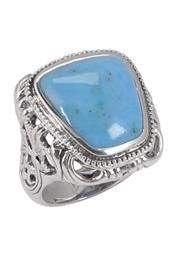 Plus Size Women's Barse Carved Turquoise Ring CRVDR05MT1