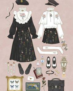 New Fashion Illustration Sketches Dresses Style 48 Ideas Vintage Fashion Sketches, Fashion Design Drawings, Kleidung Design, Lolita Mode, Estilo Lolita, Illustration Mode, Drawing Clothes, Anime Outfits, Character Outfits