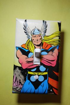 Thor Comic Book Superhero Light Switch Plate by ComicRecycled