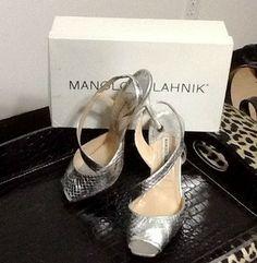 Manolo Blahnik Metallic Strappy Snakeskin Slingbacks Silver Sandals $267