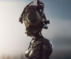 Headache by Maxim Goudin, via Behance Robots, Master Chief, Concept Art, Behance, 3d, Character, Conceptual Art, Robot, Lettering