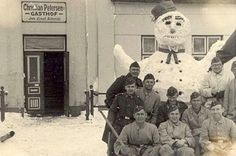 We have a few photos of soldier's during WW I & II with their snowman, this one I hadn't seen before.