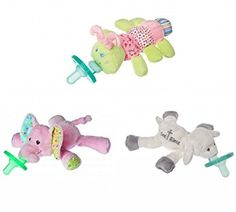 Mary Meyer Wubbanub Plush Pacifier, Limited Edition Set (Cutsie Caterpillar, Ella Bella Elephant, God Bless Lamb)