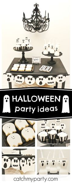 Check out this Spooktacular Halloween Party! The ghost cookies are so cute!! See more party ideas and share yours at CatchMyParty.com  #halloween #halloweenparty
