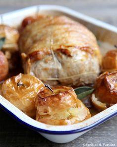 Rôti de porc aux pommes et au cidre