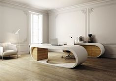Photo Gallery of Modern Office Desk Design in Stylish Looks - Office table design ideas Work Office Design, Modern Office Design, Modern Desk, Office Interior Design, Office Interiors, Home Interior, Interior Architecture, Contemporary Office, Modern Interior