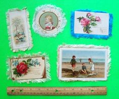 FIVE 1880's SILK FRINGED GREETING CARDS New Year's CHRISTMAS B'Day VICTORIAN wow