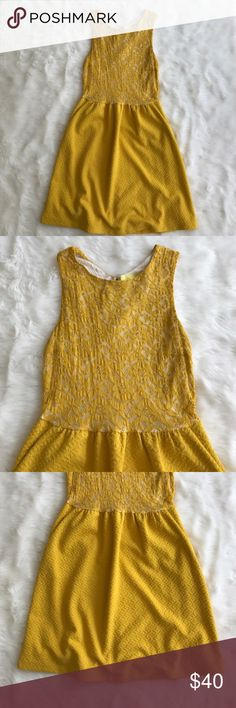 Anthropologie Maeve gold tank lace overlay dress My favorite color of dark yellow. Beautiful dress! Unique and comfy! Great condition. Anthropologie Dresses Midi
