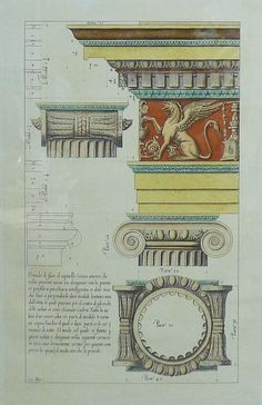 """Detail diagram print of an Ionic column. Hand colored with text written in Italian. Possible signature on lower left - Image Size: Height: 18 1/2"""", Width: 11 3/4""""(Classic Columns, Architectural Details, Architecture, Fine Art)"""