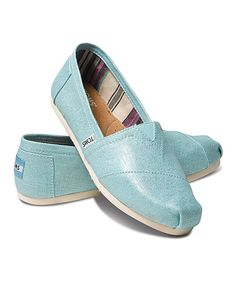 Look at this TOMS Turquoise Metallic Linen Classics on #zulily today!