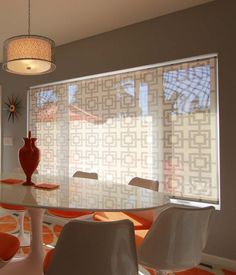 """""""Square Lattice"""" from Delia Shades. Get a free estimate for your own project at http://www.deliashades.com/quote.php #SquareLattice #DeliaShades #Lattice #DiningRoom #WindowTreatments"""