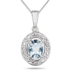 March Birthstone Deal - Aquamarine Diamond Pendant .925 Sterling Silver $29 Free Shipping | eSalesInfo.com