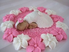Baptism Cake Topper Girl flowers by DinasCakeToppers on Etsy
