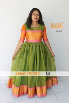 Flair Gown with Banarasi Panel by Bavali Designer For Order Whatsapp to 09016708808 Kids Blouse Designs, Dress Neck Designs, Designs For Dresses, Saree Blouse Designs, Saree Gown, Sari Dress, Salwar Dress, Anarkali, Kalamkari Dresses