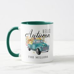 Hello Autumn Vintage Harvest Truck Personalized Mug Farm Trucks, Diy Mugs, Cute Cups, Script Lettering, Personalized Note Cards, Fun Challenges, Hello Autumn, Vintage Farmhouse, Photo Mugs