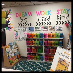 I like these colorful phrases for a library bulletin board. Dream big. Work hard. Stay kind. #LibraryLearners