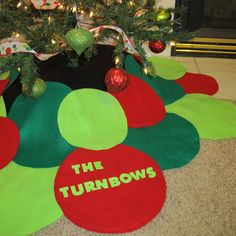 embroidered christmas tree skirt | Personalized Circle Christmas Tree Skirt by TurnbowDesigns