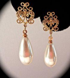 Bridal jewelry // Gold // Pearl drop earrings // Long // Filigree // Brides earrings // Bridesmaids // Wedding jewelry //  Formal jewelry // on Etsy, $42.99