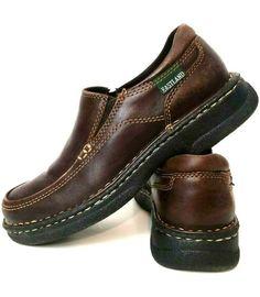 e64ae7c4efee Eastland Shoes Brown Leather Womens Sz 6M Slip On Block Heel Flats Elastic  Flats  Eastland