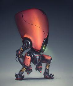 Big Headed Bot, Bryan Lee on ArtStation at https://www.artstation.com/artwork/big-headed-bot