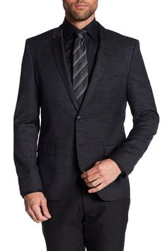 Arti Black Two Button Notch Lapel Wool Suit Separates Trim Fit Sport Coat