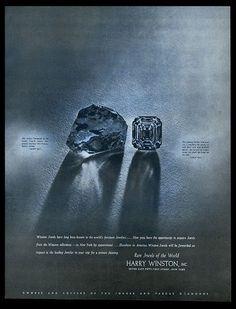 1943 Jonker diamond rough and cut photo Harry Winston jewelry vintage print ad