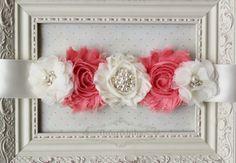 Coral and Ivory Maternity Sash, Belly Bands, Bridal Sashes, Coral Wedding Sash, Newborn Sash, Photography Prop