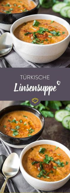 Diese würzige Linsensuppe zaubert dir eine Prise Orient in deinen Suppentopf. R… This spicy lentil soup conjures up a pinch of Orient in your soup pot. Red lentils blend with fine spices to a real culinary delight! Veggie Recipes, Soup Recipes, Vegetarian Recipes, Cooking Recipes, Healthy Recipes, Vegan Vegetarian, Lentil Recipes, Easy Recipes, Healthy Food