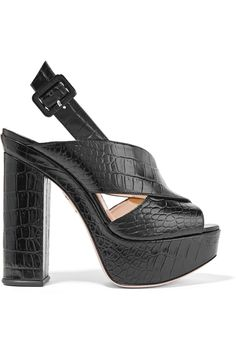 Charlotte Olympia | Electra croc-effect leather platform sandals | NET-A-PORTER.COM